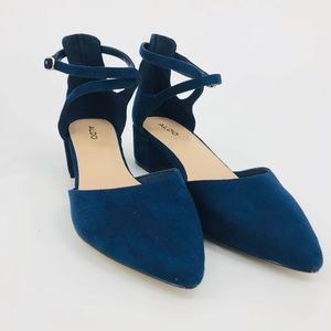 Aldo Blue Heels Ankle Strap CYRYAN Women's Size 9